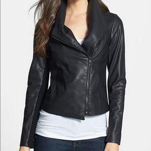 VINCE Black Leather Asymmetric Scuba Jacket Large